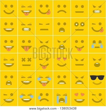 Big set of square orange smiles. Smiles with different emotions in a flat style. Modern, universal smiles square shape.