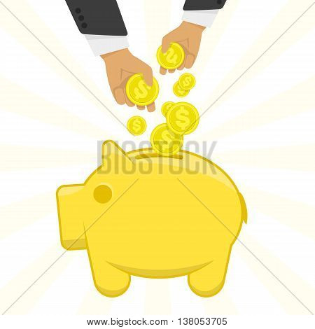 Vector illustration of a hand putting money in the piggy bank. Vector icon Yellow piggy bank with money. The concept of financial illustration accumulation of money.
