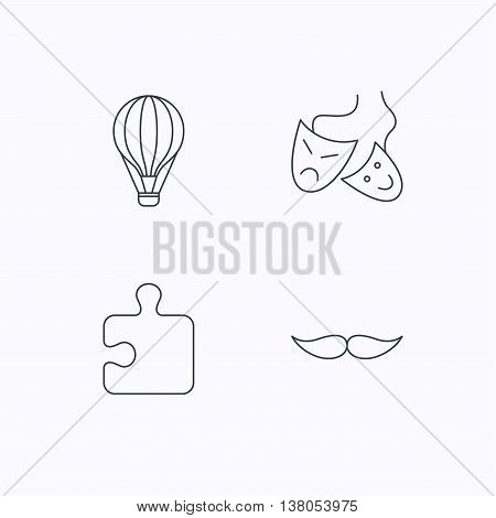 Puzzle, air balloon and theater masks. Mustache linear sign. Flat linear icons on white background. Vector