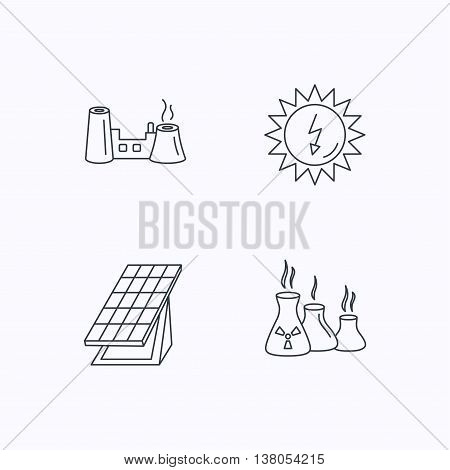 Solar collector energy, factory and industries icons. Solar energy linear signs. Flat linear icons on white background. Vector