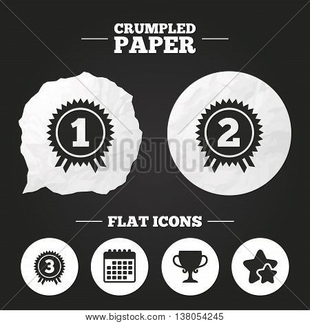 Crumpled paper speech bubble. First, second and third place icons. Award medals sign symbols. Prize cup for winner. Paper button. Vector