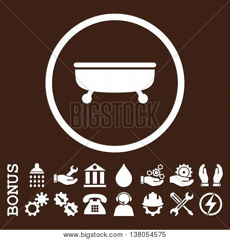 Bathtub vector icon. Image style is a flat pictogram symbol inside a circle, white color, brown background. Bonus images are included.