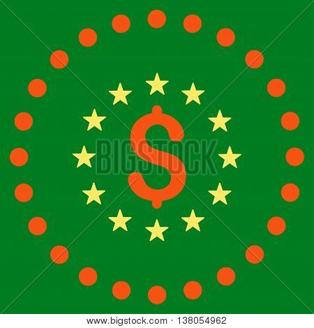 Dollar Stars vector icon. Style is bicolor flat circled symbol, orange and yellow colors, rounded angles, green background.
