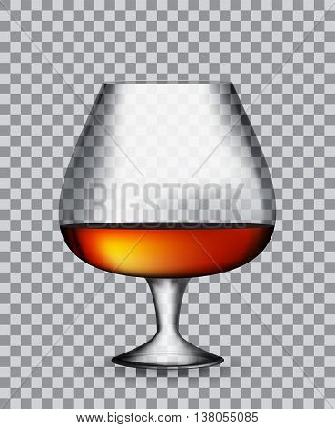 Glass Collector 50 year-old French Cognac on Transparent Background. Vector Illustration. EPS10