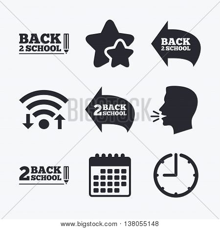Back to school icons. Studies after the holidays signs. Pencil symbol. Wifi internet, favorite stars, calendar and clock. Talking head. Vector