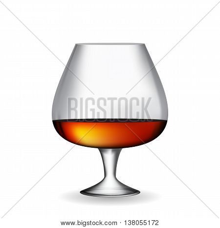Glass Collector 50 year-old French Cognac on White Background. Vector Illustration. EPS10