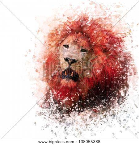 digital painting of  lion portrait