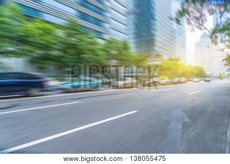 car driving on city road