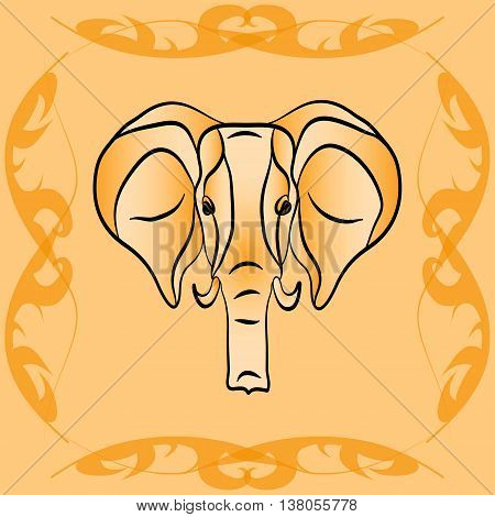 The outline of an elephant in sepia. Elephant in the frame of green vines sepia