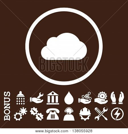 Cloud vector icon. Image style is a flat pictogram symbol inside a circle, white color, brown background. Bonus images are included.