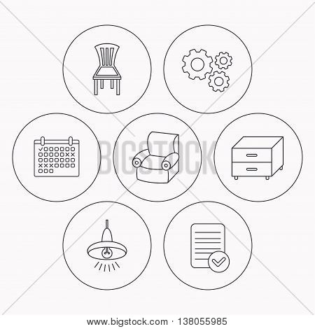 Ceiling lamp, nightstand and armchair icons. Chair linear sign. Check file, calendar and cogwheel icons. Vector