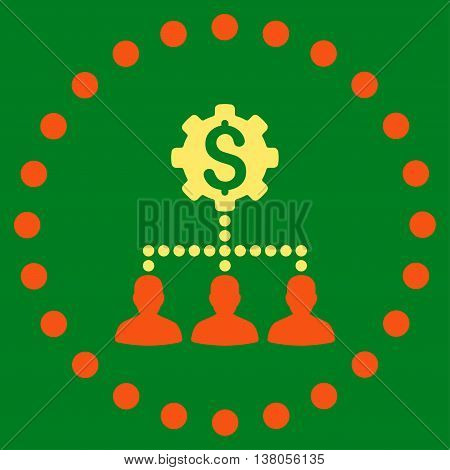 Industrial Bank Clients vector icon. Style is bicolor flat circled symbol, orange and yellow colors, rounded angles, green background.