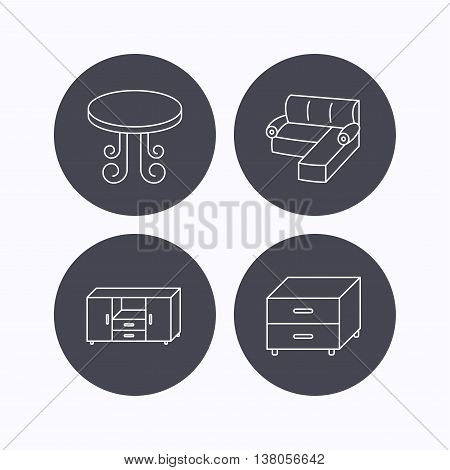 Corner sofa, table and nightstand icons. Chest of drawers linear sign. Flat icons in circle buttons on white background. Vector