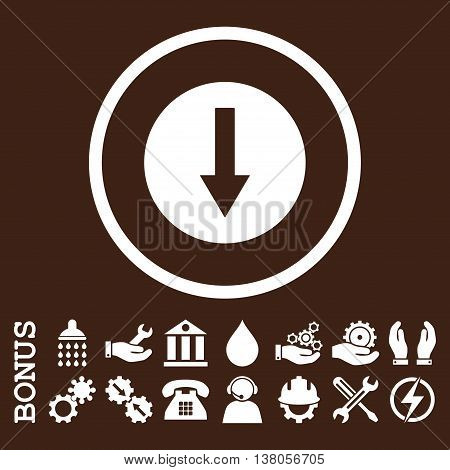 Down Rounded Arrow vector icon. Image style is a flat pictogram symbol inside a circle, white color, brown background. Bonus images are included.