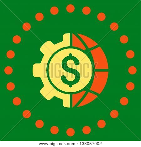 World Industry Finances vector icon. Style is bicolor flat circled symbol, orange and yellow colors, rounded angles, green background.