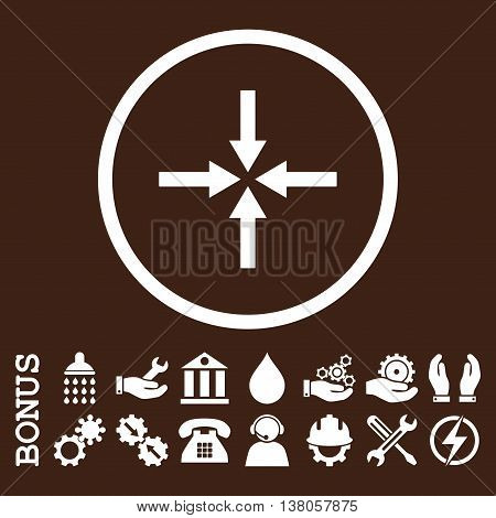 Impact Arrows vector icon. Image style is a flat pictogram symbol inside a circle, white color, brown background. Bonus images are included.