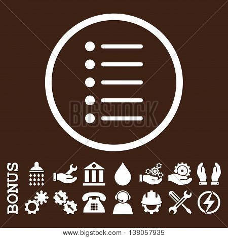 Items vector icon. Image style is a flat pictogram symbol inside a circle, white color, brown background. Bonus images are included.