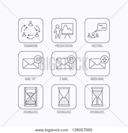 Teamwork, presentation and meeting chat bubbles icons. E-mail inbox, hourglass linear signs. Flat linear icons in squares on white background. Vector