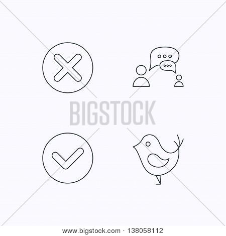 Delete, check and chat speech bubble icons. Dialog linear sign. Flat linear icons on white background. Vector