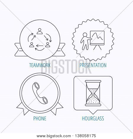 Teamwork, presentation and phone call icons. Hourglass linear sign. Award medal, star label and speech bubble designs. Vector
