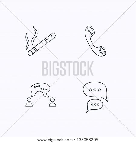 Smoking, chat and phone call icons. Chat speech bubble linear sign. Flat linear icons on white background. Vector