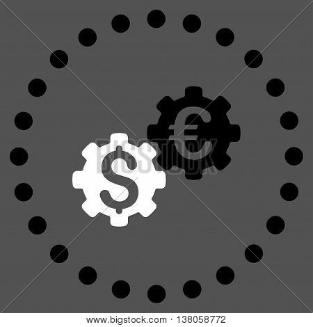 Financial Mechanics vector icon. Style is bicolor flat circled symbol, black and white colors, rounded angles, gray background.