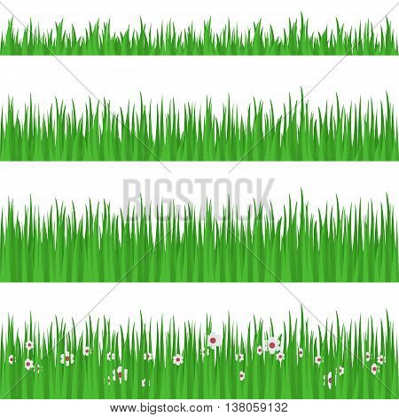 Best looking lawn 4 ideal grass heights for mowing flat horizontal banners set abstract isolated vector illustration. Grass - stock vector