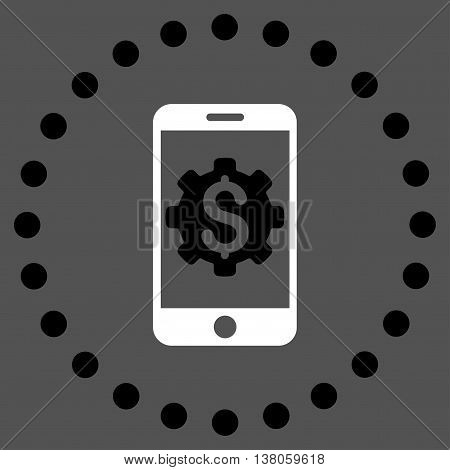 Mobile Bank Setup vector icon. Style is bicolor flat circled symbol, black and white colors, rounded angles, gray background.