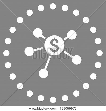 Bank Branches vector icon. Style is flat circled symbol, white color, rounded angles, gray background.