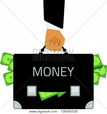 Vector illustration of a briefcase full of money in the man hand. Illustration in a flat style man holding a suitcase full of money.