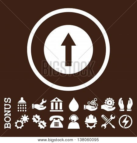 Up Rounded Arrow vector icon. Image style is a flat pictogram symbol inside a circle, white color, brown background. Bonus images are included.