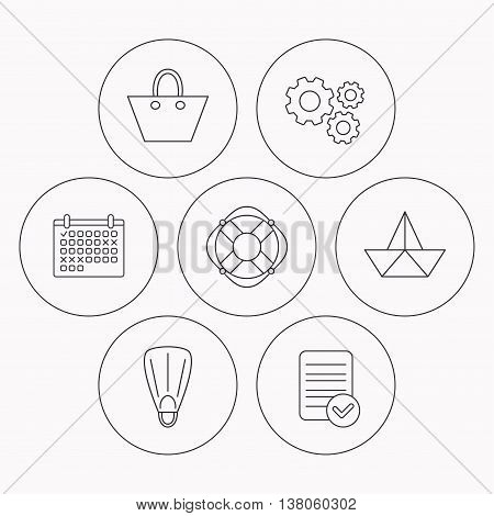 Paper boat, flippers and lifebuoy icons. Women handbag linear sign. Check file, calendar and cogwheel icons. Vector
