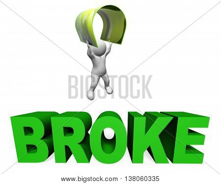 Broke Credit Card Indicates Financial Problem And Bankcard 3D Rendering