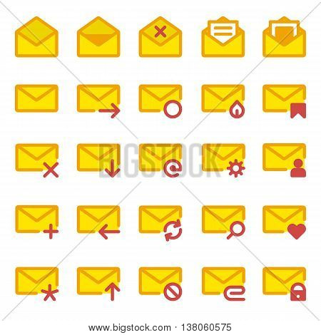 Big set of vector icons e-mail. Yellow icons mail letter, e-mail in a flat style for use in your design layouts and web applications.