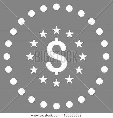 Dollar Stars vector icon. Style is flat circled symbol, white color, rounded angles, gray background.