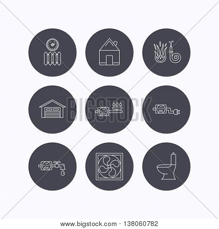 Ventilation, garage and heat radiator icons. Gas, water and electricity counter linear signs. Real estate, toilet and fire hose icons. Flat icons in circle buttons on white background. Vector