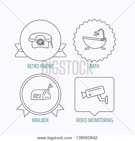 Retro phone, video camera and mailbox icons. Bath linear sign. Award medal, star label and speech bubble designs. Vector