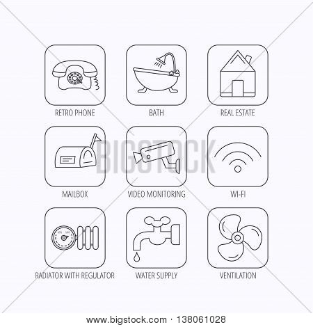 Wifi, video camera and mailbox icons. Real estate, bath and water supply linear signs. Radiator with heat regulator, phone icons. Flat linear icons in squares on white background. Vector
