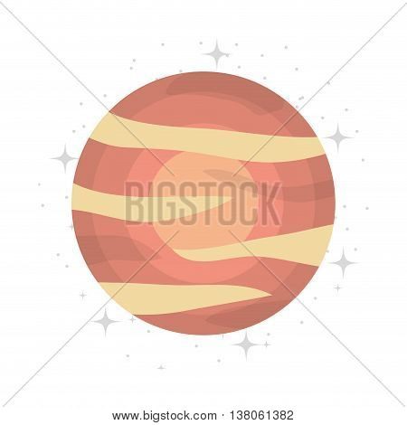 Plant of milky way galaxy, colorful isolated flat jupiter icon vector illustration graphic.