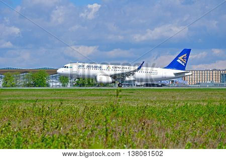 ST PETERSBURG RUSSIA - MAY 11 2016. P4-KBC Air Astana Airbus A320 airplane closeup view. Airplane rides on the runway after arrival at Pulkovo airport in St Petersburg Russia
