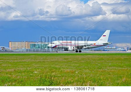 ST PETERSBURG RUSSIA - MAY 11 2016. VQ-BAV Rossiya Airlines Airbus A319 airplane closeup. Airplane rides on the runway after arrival from Pulkovo International airport in St Petersburg Russia