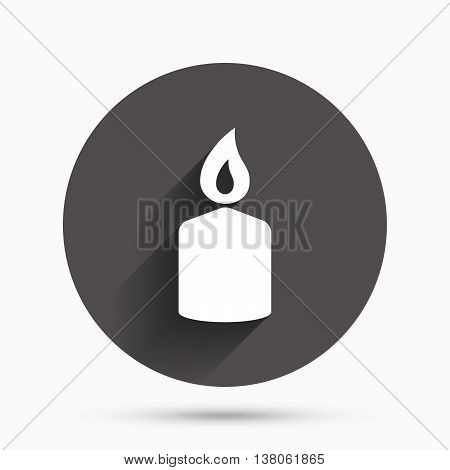 Candle sign icon. Fire symbol. Circle flat button with shadow. Vector