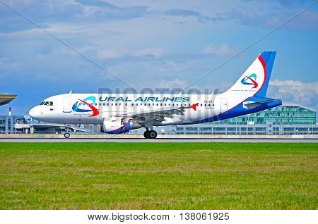 ST PETERSBURG RUSSIA - MAY 11 2016. VQ-BTY Ural Airlines Airbus A319 airplane closeup. Airplane rides after landing in Pulkovo airport in St Petersburg Russia