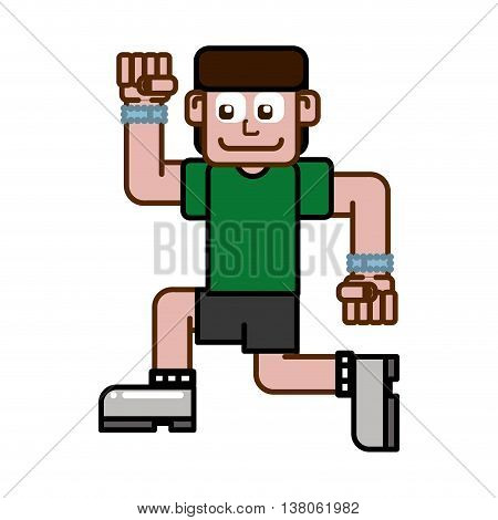 Bodybuilding concept represented by man cartoon icon. Isolated and flat illustration