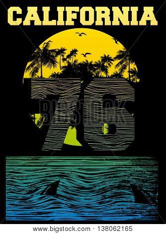 California beach Typography Graphics. T-shirt Printing Design for sportswear apparel. CA original wear. Concept in vintage graphic style for print production. Palms; wave and seagull. Vector