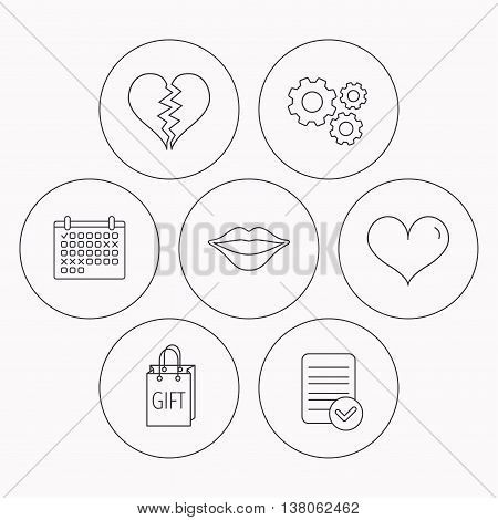 Love heart, kiss lips and gift icons. Broken heart linear sign. Check file, calendar and cogwheel icons. Vector