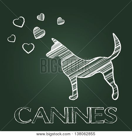 Canines Word Shows Doggy Pet And Pets