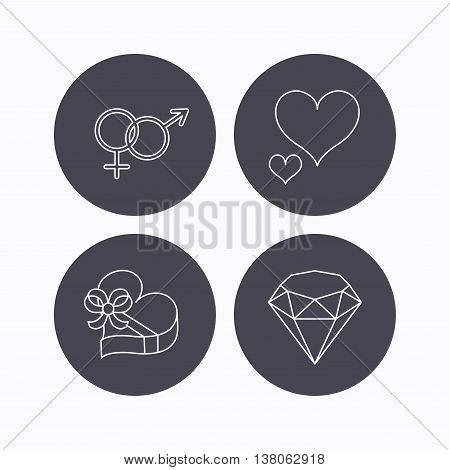 Love heart, gift box and brilliant icons. Male and female linear signs. Flat icons in circle buttons on white background. Vector