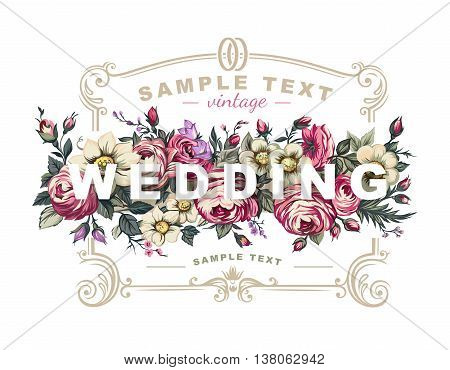 Vector wedding label with a frame composed of detailed flowers illustrations.