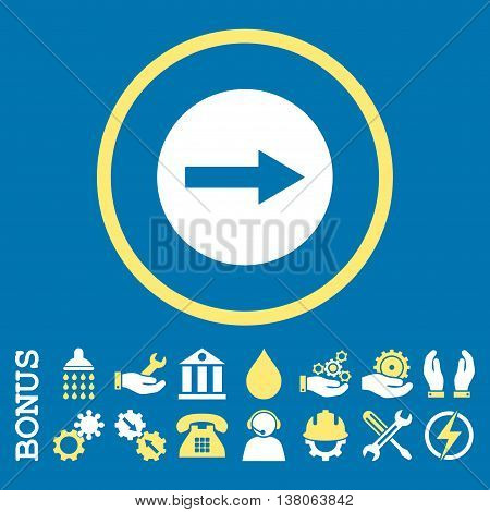 Right Rounded Arrow vector bicolor icon. Image style is a flat pictogram symbol inside a circle, yellow and white colors, blue background. Bonus images are included.